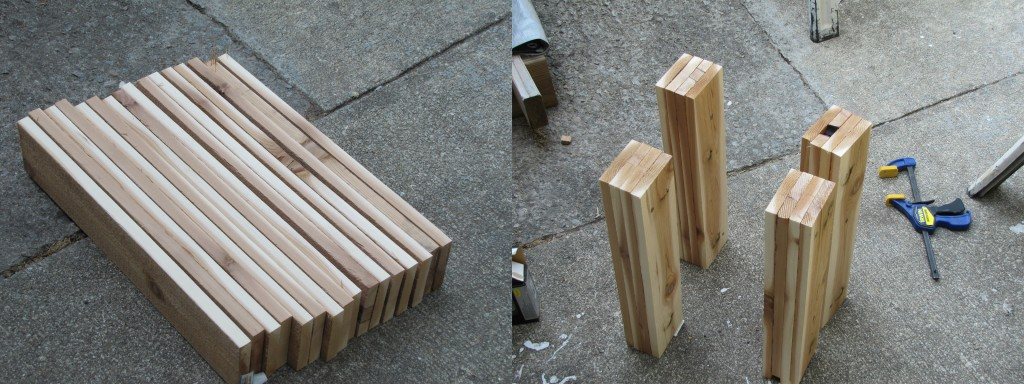 Form columns / posts from by fastening 4 1x4x18 pieces together